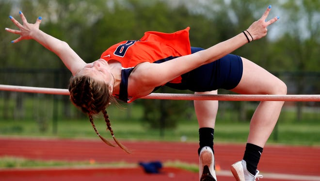 Jaclyn Wright of Blackman participates in Girls High Jump during the Rutherford County Girls Track and Field Championship at Stewarts Creek on Tuesday April 24, 2018.
