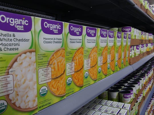 Organic items will be marked with purple labels in