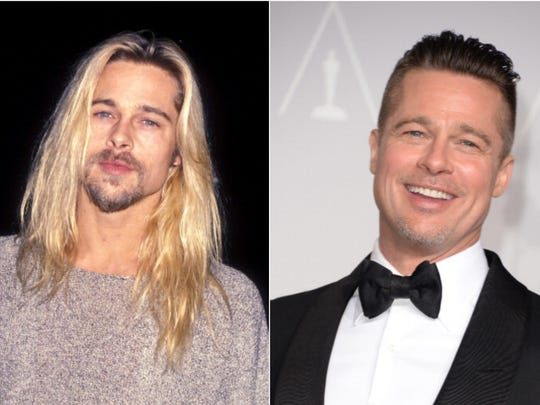 Actor Brad Pitt, 50.   Left: 1994.  Right: 2014.