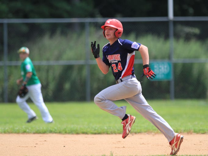 ASB 0728 JL State Tournament   Bener Uygun, runs to third base during Par-Troy East vs Erial Junior League baseball championship game at Berkley Little League's Leiter Field, Sunday, July 27, 2014.  Mary Frank/Staff Photographer