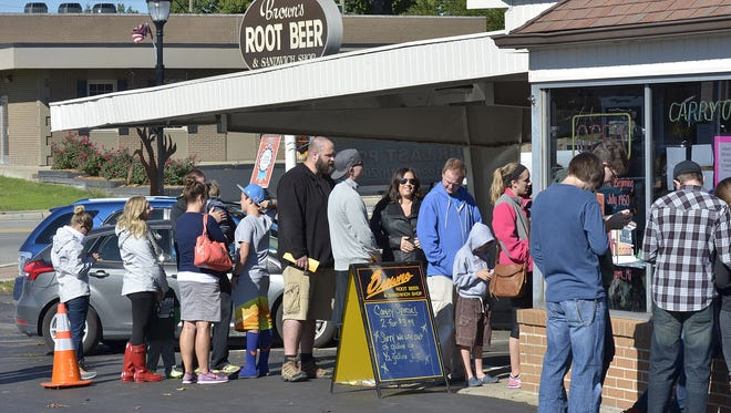 The line was well out the door for the last day at Brown's Root Beer in October 2016.