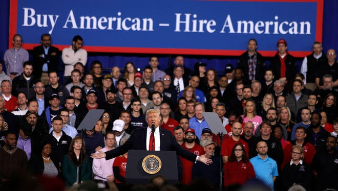 President Trump speaks to auto workers at the American Center for Mobility on March 15, 2017, in Ypsilanti, Mich. T