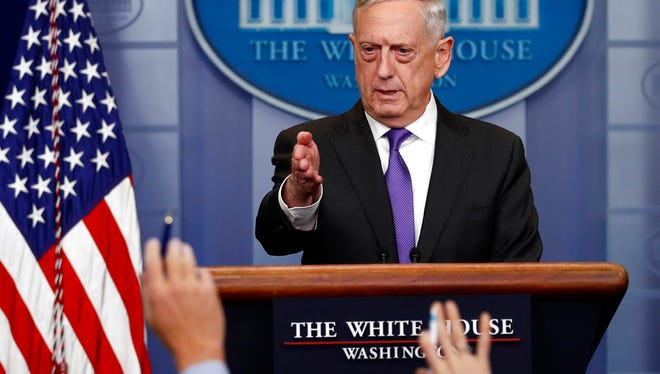 Defense Secretary Jim Mattis takes questions during the daily news briefing at the White House, in Washington, Wednesday, Feb. 7, 2018.