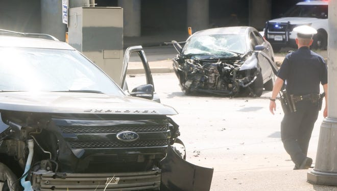 Five people were transported from the scene of a crash on W. Liberty Street and Winchell Avenue Monday afternoon.