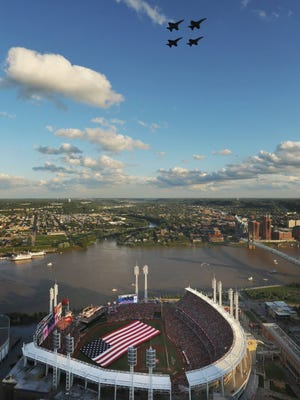 The flyover at Great American Ball Park Wednesday before the start of the All-Star Game.