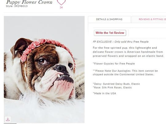 For only $78, you too can have this flower crown for your dog.