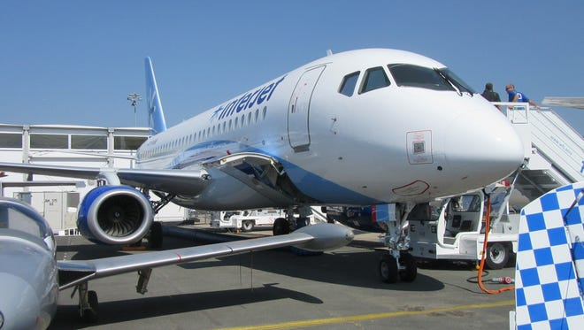 A Sukhoi Superjet 100 as seen Wednesday, June 17, at the Paris Air Show.