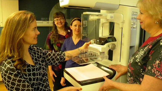 Dr. Alisa Johnson (far left), a Radiology Merrill Radiologist on staff at Ministry Good Samaritan provides and overview to technicians Christine Lawrie, Jill Hanson and Nancy Dabbert.