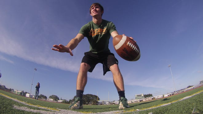 Brandon Ziarno goes through some drills during a practice while at Melbourne Central Catholic.