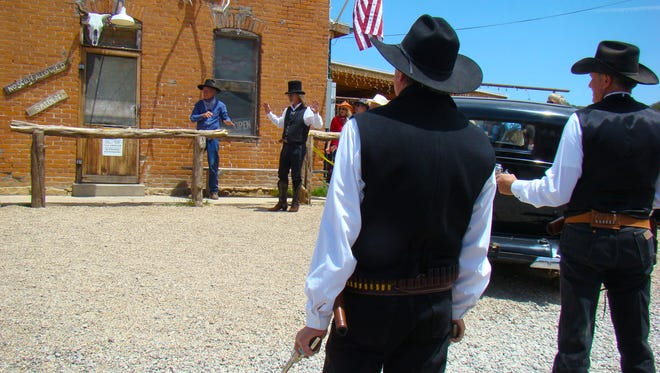 "Several years ago White Oaks locals re-enact a wild west shootout during a gold-rush event. The loud gun smoke incident occurred in front of today's ""No Scum"" bar resulting in ""boot hill"" candidates."