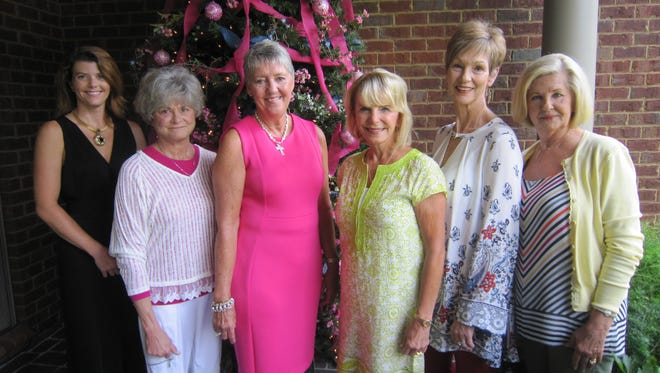 Saint Thomas Rutherford Ambassadors, from left, Lindsey Fournier (Saint Thomas Rutherford development coordinator), Beverly McPherson (event hostess), honoree Dottie Adams, and event co-chairs Anita Pirtle, Pam Jones and Debbie Caldwell