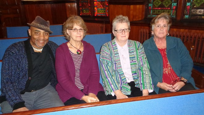 Members of Tabernacle United Methodist Church's Church and Society Group are reaching out to help people with mental illnesses and trying to decrease the stigma attached to mental illness. Some of the members are, from left, Christopher Dyson, Ilona Horvath, Rev. Beth Benham, the church's pastor, and Pamela Connelly.
