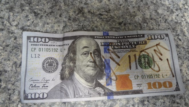 A counterfeit $100 bill recovered by Havre Police Department in the last month.