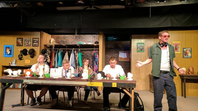 """(L-R) Micheal Barker, Don Knealing, Kristen Tredway, Zeke Chavarria and Robert Reid portray actors backstage in Steven Drukman's """"Another Fine Mess,"""" opening Friday at the Carlsbad Community Theatre."""