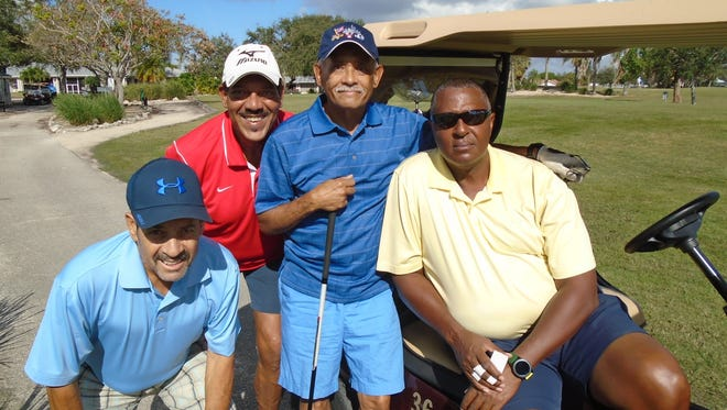 Having a great time at the tournament are, from left, Al Peña, Ray Guadalupe, Luis Arroyo and Norman Robinson