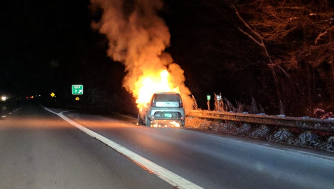 Vermont State Police released this photo of a car that caught fire on Interstate 89 on Thursday evening, Dec. 14, 2017.
