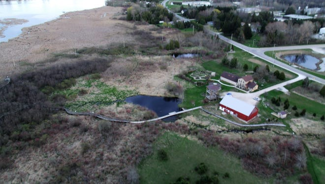 Aerial view of Woodland Dunes Nature Center in Two Rivers.