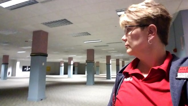 AT&T worker and union member Betsy LaFontaine at the Appleton, Wisc. center where she has worked for almost 30 years,