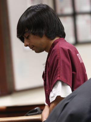Child pornography suspect Erick Monsivais appears in court in February.