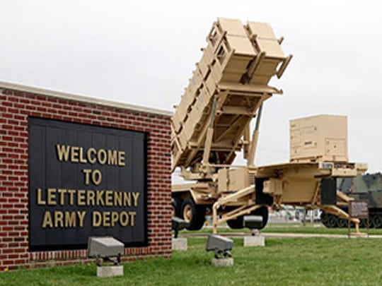 The Patriot missile launcher is displayed at the entrance of Letterkenny Army Depot.