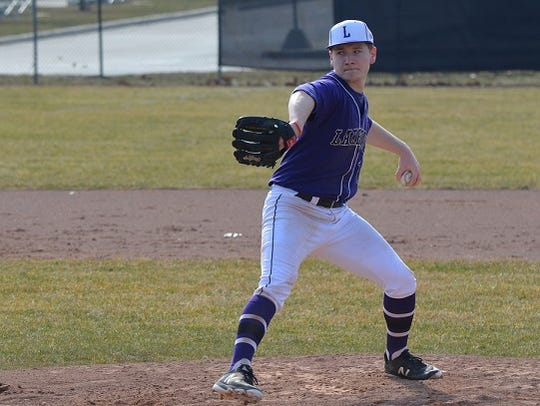 Lakeview pitcher Tyler Brown throws home during early-season action against Marshall