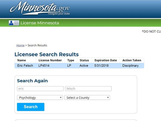 Eric Felsch's psychology license status with the Minnesota Board of Psychology as of Feb. 9, 2018.
