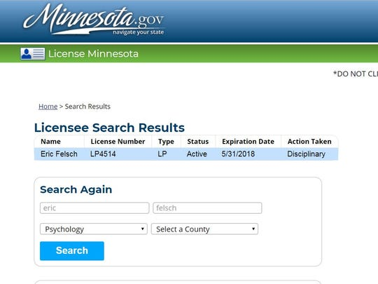 Eric Felsch's psychology license status with the Minnesota Board of Psychology as of April 9, 2018.