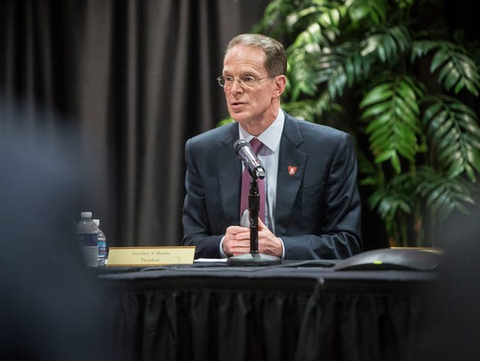Ball State President Geoffrey Mearns and the board