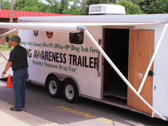The Montgomery County Sheriff's Office acquired this trailer through an Army surplus program and is using it for drug awareness education.