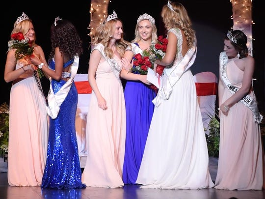 Outgoing ambassadors greet the newly-crowned royalty at the end of the 2017 Sauk Rapids Ambassador Pageant Thursday, June 22, in Sauk Rapids.