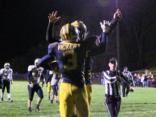Climax-Scotts' Nathan Vickery celebrates his touchdown