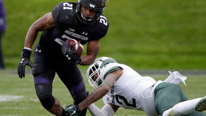 Michigan State struggled against Northwestern's short crossing routes in a triple-overtime loss this season, though Spartans cornerback Justin Layne tackled Wildcats running back Justin Jackson on this play.