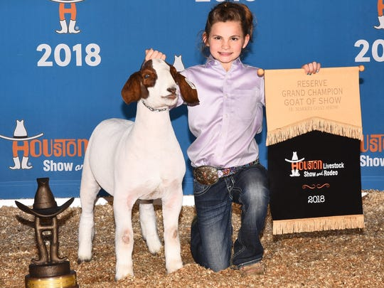 yndee Jo Hanslik showed the reserve champion goat at the Houston Livestock Show and Rodeo.