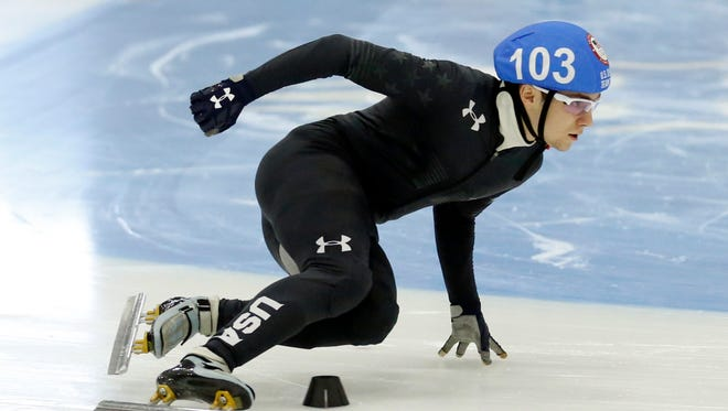 Ryan Pivirotto competes in the men's 1000-meter during the U.S.Olympic short track speedskating trials Sunday, Dec. 17, 2017.