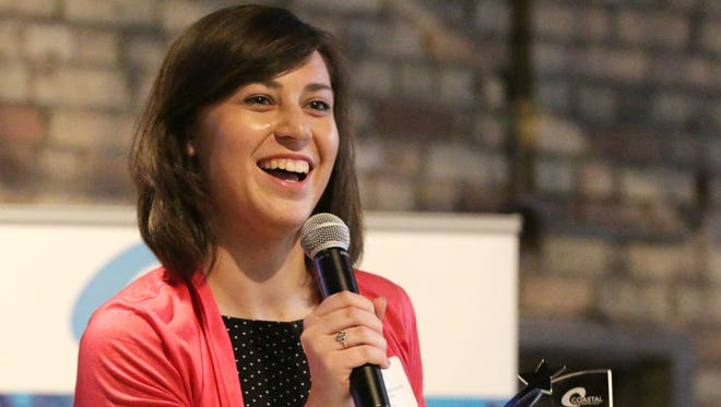 Katelyn Braun speaks during the Coastal Chamber Next Wave awards Tuesday May 9, 2017, held at The Berkshire Event Venue in Sheboygan.