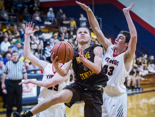 Israel Nash plays in Monroe Central's game against