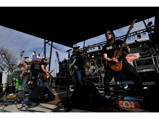 The Koe Wetzel band performs during Friday's Outlaws & Legends music festival March 23, 2018, in Abilene.