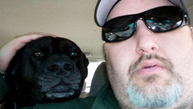 The author and his dog, Hershey, who died last year.
