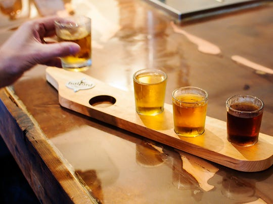A flight of ginger beer is served at Halyard Brewing Co. in South Burlington on Tuesday, April 25, 2017.