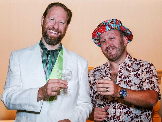 """Oak Park resident Chris Steinmayer and Huntington Woods resident Dan Hartley star in the musical """"Dirty Rotten Scoundrels"""" at St. Dunstan's Theatre in Bloomfield Hills Oct. 14-29."""