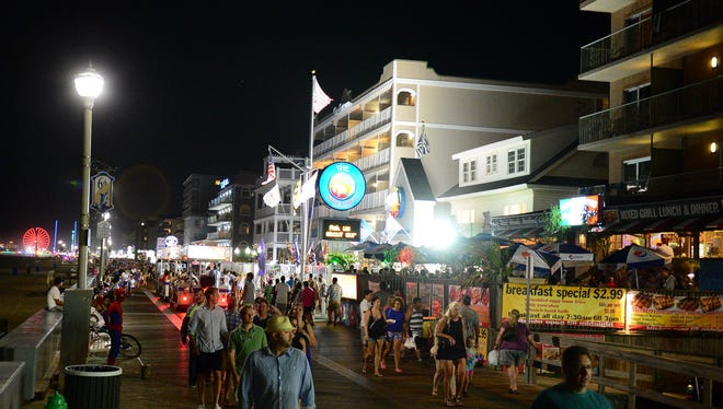 Night time at Ocean City boardwalk, Aug. 27, 2016