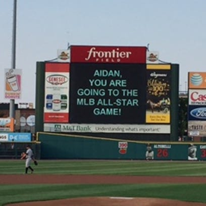 The video board at Frontier Field broke the news to