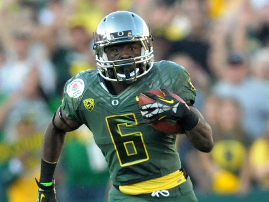 Oregon running back De'Anthony Thomas on the 2011 Ducks football team.