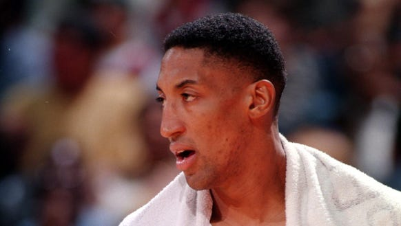Scottie Pippen, shown in 1997, won six titles with