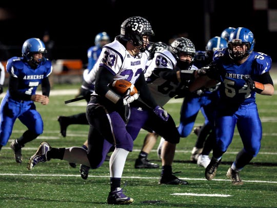 Grantsburg player John Chenal makes a run during the Division 5 playoff game between Amherst and Grantsburg on November 10, 2017, at Stanley-Boyd High School in Stanley, Wis.