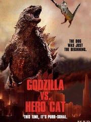 Tara cat Godzilla poster