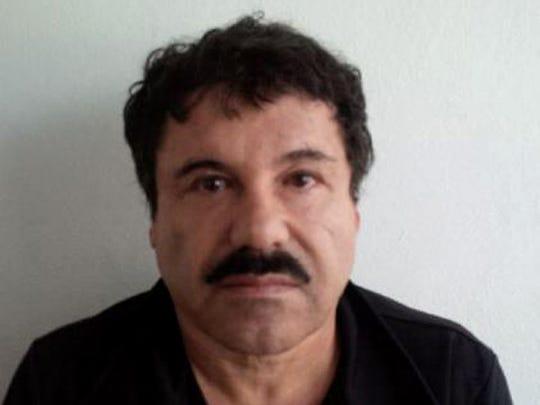 Mugshot of Mexican drug trafficker Joaquin Guzman Loera,