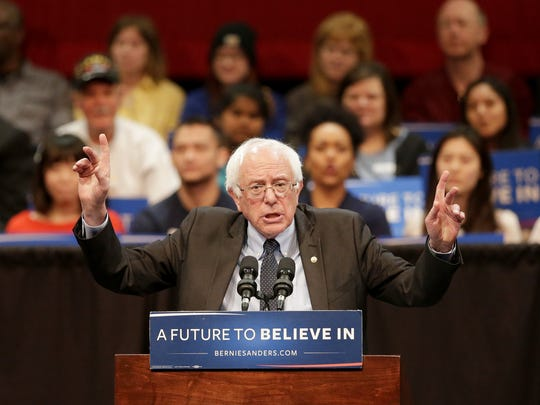 Democratic presidential candidate Bernie Sanders speaks during a town hall gathering at the Fox Cities Performing Arts Center in downtown Appleton on Tuesday, March 29, 2016.