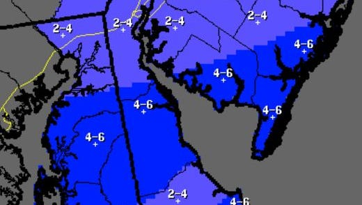 Snowfall predictions for Sunday night and Monday's storm