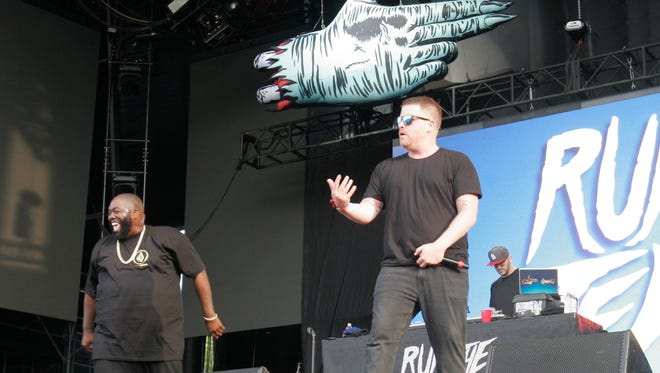 Run the Jewels performs at Lollapalooza in Chicago's Grant Park Thursday.